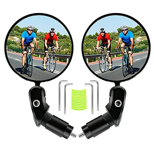 Rückspiegel Fahrrad - Fahrradrückspiegel Drehrückspiegel 2 Stück Fahrradspiegel 360°Drehbar Konvexspiegel für 17,4-22 mm Lenker Universal Radfahren Fahrrad, Mountainbike, Rennräder