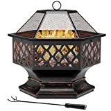 Yardsam Hexagon Fire Pit, 24 Inch Hex Shaped Fire Pit Outdoor Steel Wood Burning Fireplace Firepit Bowl with Lattice Backyard Home Garden Camping Patio Picnic Bonfire, Spark Mesh Cover and Fire Poker