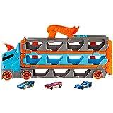 Hot Wheels City Camión autopista, pista de coches de juguete de 2 metros con lanzador, incluye 3 vehículos (Mattel HGH33)