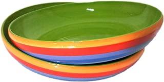 CinMin Rainbow Striped Stoneware Ceramic Pasta Bowl Set of 2, 9 Inch