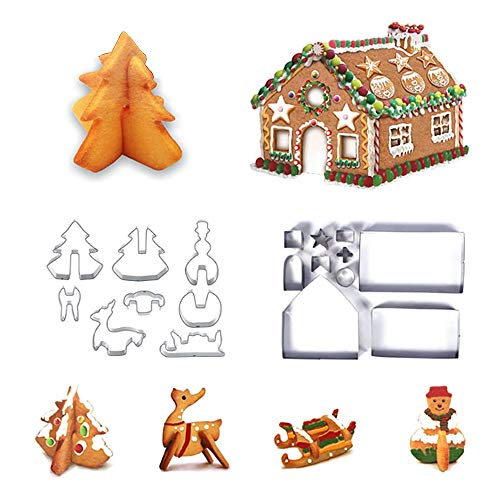 Mocobo - Set di 18 stampi per biscotti in 3D fai da te, accessori per feste con fiocchi di neve, pupazzo di neve, albero, renna, slitta
