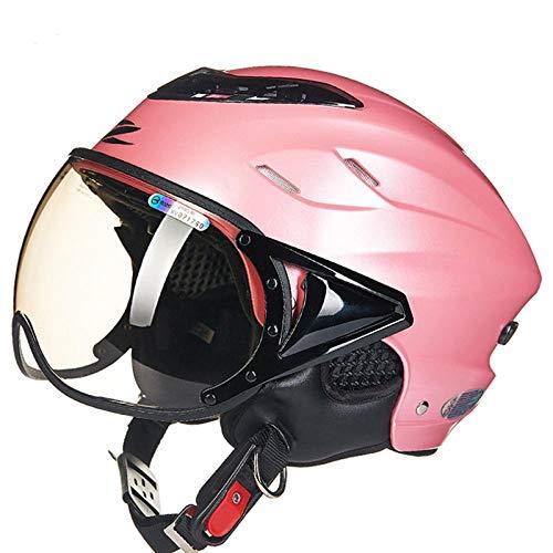 HNlong Motorhelm elektrische fietshelm retro scooter halve helm mannen en vrouwen elektrische fiets veiligheidshelm zonnekap