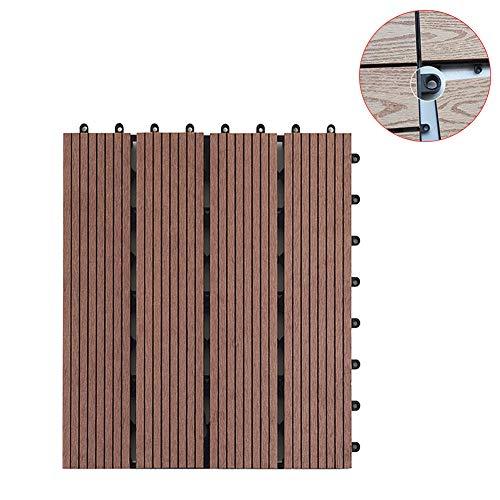 Korrosionsbeständiger Bodenbelag, Verbundwerkstoff, WPC-Kunststoff, für Garten, Balkon, Terrasse, Bodenbelag, geeignet für Böden im Innen- und Außenbereich, braun