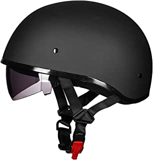 ILM Half Motorcycle Helmet with Sunshield Quick Release Strap Fit for Bike Cruiser..