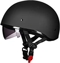 ILM Motorcycle Half Helmet with Sunshield Quick Release Strap Half Face Fit for Bike Cruiser Scooter Harley DOT Approved (...