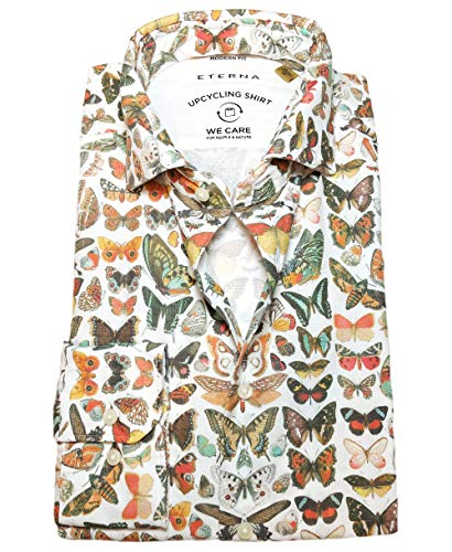 Langarmhemd UPCYCLING Shirt Modern Fit Weiss Multicolor Butterfly Print Gr. M-3XL KW 39-48 (M-KW39/40)