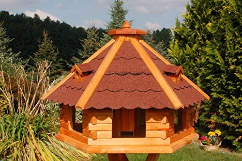 Vogelhaus von klein bis Riesig XXL Futterhaus Futterhäuschen Vogelvilla V18, Vogelfutterhaus aus Holz mit Solarbeleuchtung beleuchtet (Rot, XXL), Vogelfutterhaus mit Futtersilo, Silo