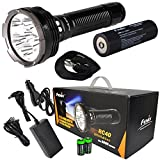 2016 Edition FENIX RC40 6000 Lumen Rechargeable Cree XM-L2 U2 LED Flashlight/ Searchlight, Car / Home charger, Fenix ARB-L3 7800mAh battery with EdisonBright battery sampler bundle
