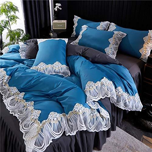 blue double duvet covers set-Lace bed skirt set four sets of European high-end silk princess wind dorms anti-slip bake bedding-Hide_1.8 m bed four pieces
