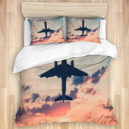 FOURFOOL Bedding Juego de Funda de Edredón,Avión de aviación de Color Rosa Rojo en Sunset Sky Aviones Jet Avión Comercial escénico Diseño de avión de pasajeros,Funda de Nórdico y Fundas de Almohada