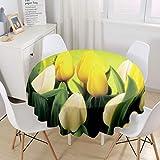 Himlaya Manteles Mesa Redonda, 3D Rosa Flor Impresión Manteles Impermeable Mantelerias Antimanchas Mantel de Mesa para Salón Cocina Comedor Decoración (Flor Amarilla,180cm)