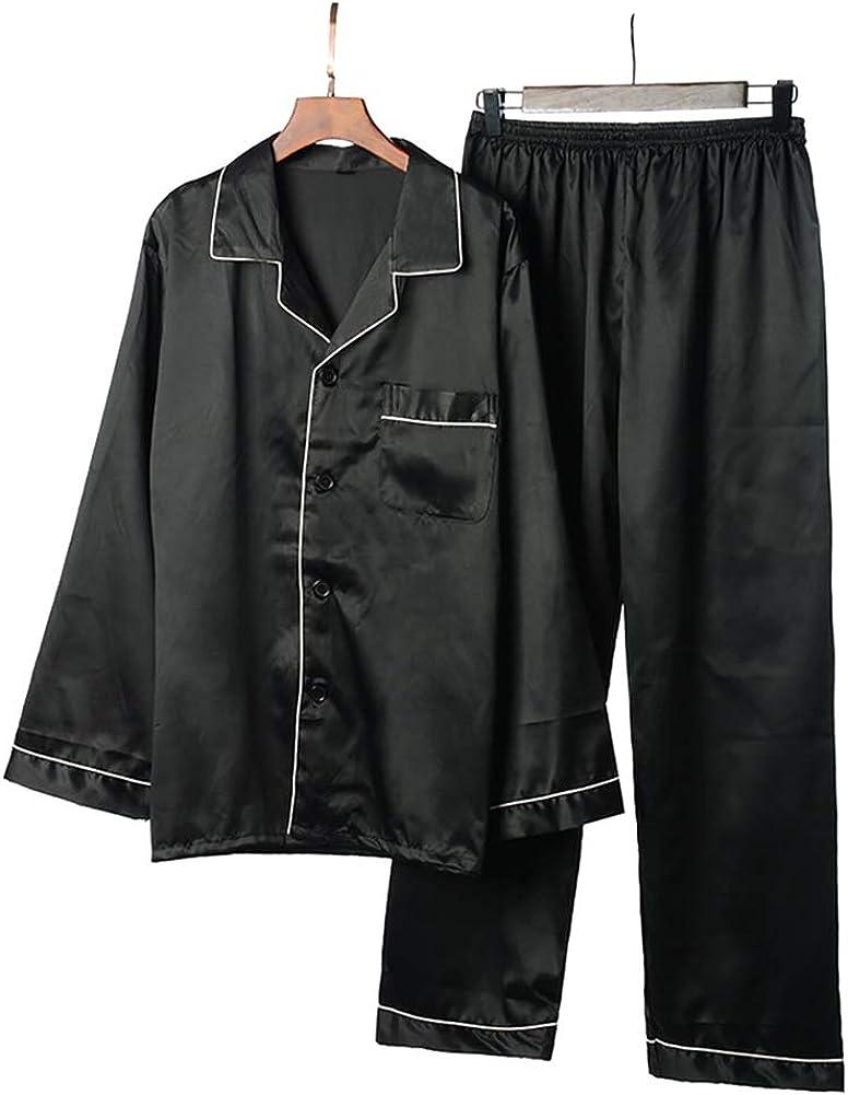 Men Silk Satin Pajamas Set Long Sleeve Classic Luxury Sleepwear Lapel Button Cardigan Home Clothes Loungewear