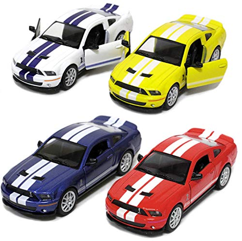 Set of 4: 5' 2007 Ford Shelby GT500 with Stripes 1:38 Scale (Blue/Red/White/Yellow) by Kinsmart