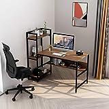 Computertisch mit 4 Ablagefächern - Schreibtisch mit Bücherregal und Turmregal für das Home Office, robuster Schreibtisch für kleine Räume, moderner einfacher Holztisch mit Stahlrahmen (Walnuss)