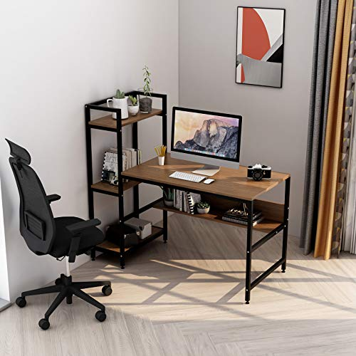Computer Desk with 4 Storage Shelves - Writing Study Desk with Bookshelf and Tower Shelf for Home Office Sturdy Student Desk for Small Spaces Modern Simple Wood Desk with Steel Frame(Walnut)
