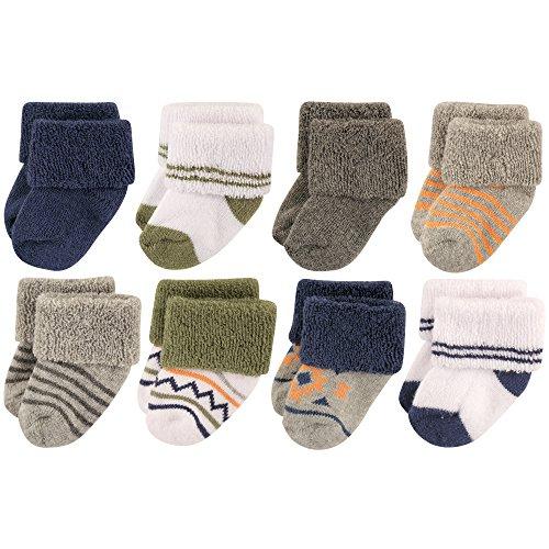 Luvable Friends Baby 8 Pack Newborn Socks, Boy Aztec, 0-6 Months