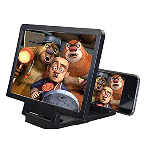 Screen Magnifier, Foldable 3D Smartphone Screen Magnifier Enlarger Screen for Mobile Phone Movie Video Screen Amplifier Protect Eyes with Practical Phone Bracket Foldable Stand Holder(Black)