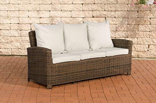 CLP Poly-Rattan 3er Sofa FISOLO aus Aluminium I Gartensofa für 3 Personen I Loungesofa mit Polsterkissen I 5mm Rattandicke, Farbe:braun-meliert, Polsterfarbe:Cremeweiß