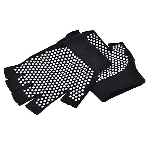Guantes antideslizantes para yoga, pilates, sin dedos, con puntos de silicona blancos (1 par de guantes)