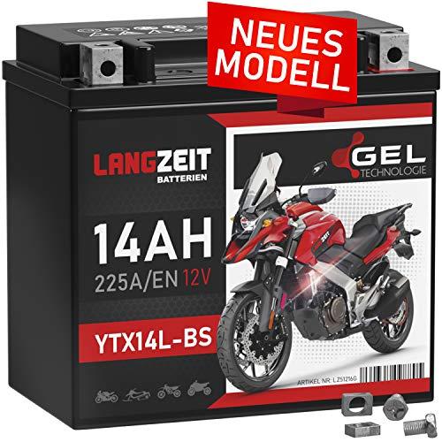LANGZEIT YTX14L-BS Motorradbatterie 12V 14Ah 225A/EN HVT-03 GEL Batterie 12V 51216 HVT-3 doppelte Lebensdauer vorgeladen auslaufsicher wartungsfrei