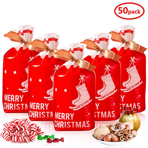 Weihnachten Süßigkeit Tütenmit Kordelzug, 50 stk Geschenkbeutel Rot Schneeschuhe Kunststoff Weihnachten Beutel für Süßigkeits Geschenke Dekorationen