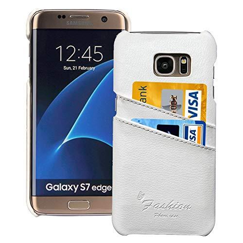 JIANGHONGYAN para Samsung Galaxy S7 Edge / G935 Cubierta Posterior Moday Genuina con Cuerode Textura de Litchi con Ranuras de Tarjetas (Color : Blanco)