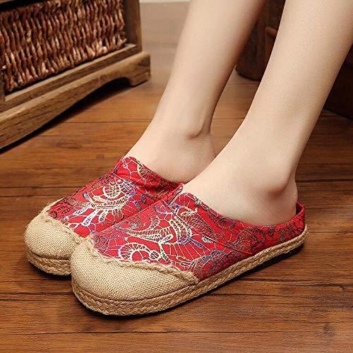 SGADSH Soie à la Main Brodée Femme Pantoufles de Linge de draps Fermer Toile Plat Mules Bohemian Respirant Dames Été Slip on Chaussures Chaussures de Sport pour Femmes (Color : Red, Size : 37 EU)