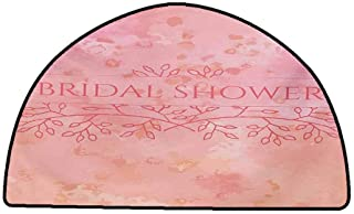 Designed Kitchen Bathroom Floor Mat Colorful Bridal Shower,Bride Invitation Grunge Abstract Backdrop Floral Design Print,Pale Pink and Salmon,W35 x L24 Half Round Kitchen Rugs Non Skid Washable