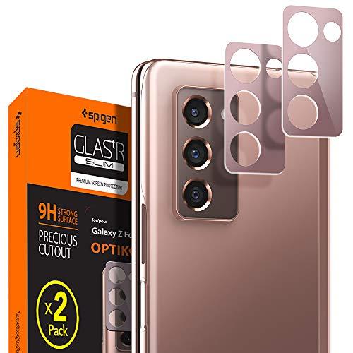 Spigen, 2 Stück, Kamera Schutzglas kompatibel mit Samsung Galaxy Z Fold 2, Glas.tR Optik, Bronze, Hüllenfreundlich, Anti-Kratzer, Kristallklar, Keine Störung für Blitzfunktion Schutzfolie