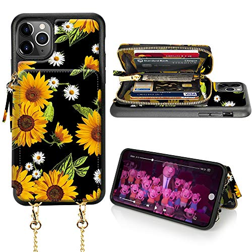 iPhone 11 Pro Max Wallet Case, iPhone 11 Pro Max Card Holder Case, LAMEEKU Sunflower Pattern Zipper Leather Case with Card Slot Strap, Protective Cover for iPhone 11 Pro Max 6.5''-Sunflower