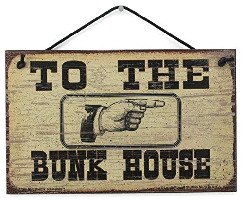 """5x8 Vintage Style Sign (Pointing Right) Saying,""""TO THE BUNK HOUSE"""" Decorative Fun Universal Household Signs from Egbert"""