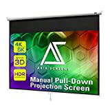 Akia Screens 125 inch Pull Down Projector Screen Manual B 1:1 8K 4K HD 3D Ceiling Wall Mount White Portable Projection Screen Retractable Auto Locking for Indoor Movie Home Theater Office AK-M125S1