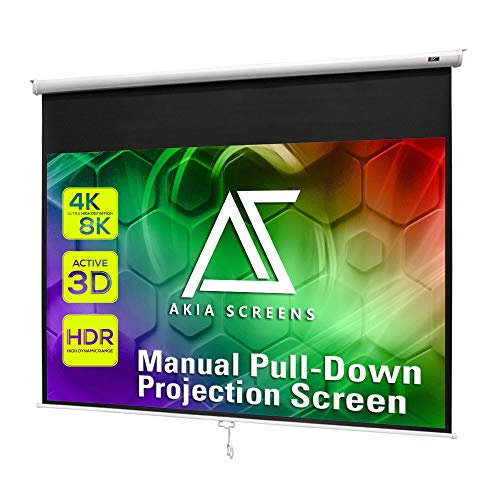 "Akia Screens 100 inch Pull Down Projector Screen Manual B 4:3 or 92"" 16:9, 95"" 16:10 8K 4K HD 3D Ceiling Wall Mount White Portable Projection Screen for Indoor Movie Home Theater Office AK-M100V1"