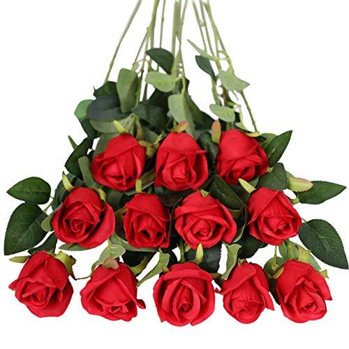 Tifuly - Fiori artificiali, 12 pezzi, a stelo lungo, con rose finte in seta, bouquet da sposa, fiori realistici per matrimoni, feste, casa, decorazione da tavolo (boccioli, rosse)