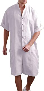 Mikely store Men Linen Jumpsuits Short Sleeve Party Overall Rompers Outfits One Pieces Casual Dungarees