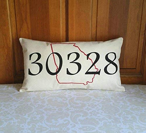 Personalized Zip Code Pillow with State Outline - Housewarming Gift for Cross Country Move