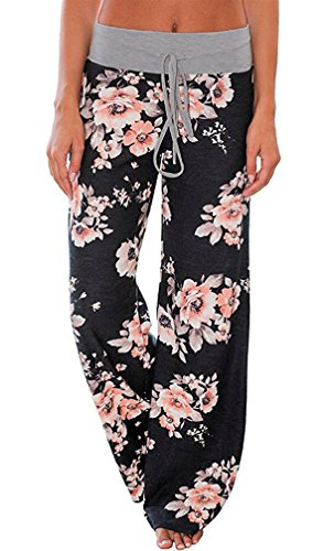 AMiERY Pajamas for Women Women's High Waist Casual Floral Print Drawstring Wide Leg Palazzo Pants Lounge Pajama Pants(Tag M (US 6), Black)