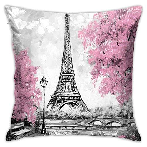 Throw Pillow Cover Case Paris Eiffel Tower Landmark Funda de Almohada Decorativa 45cmx45cm Funda de cojín para sofá de Cama