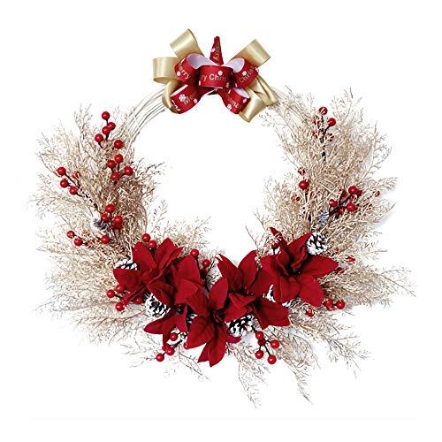 QSDGFH Corona de Navidad de 49,8 cm con bayas rojas, lazo de cinta de Navidad con conos de pino, guirnalda de flores de Navidad de Poinsettia para colgar decoración para el hogar fiesta