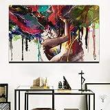 QQCYWZK Sin Marco Carteles de Pared de decoración de Arte Moderno HD Print Abstract Lovers ngs On The Wall Sin Marco Pop Art Canvas 50x70cm