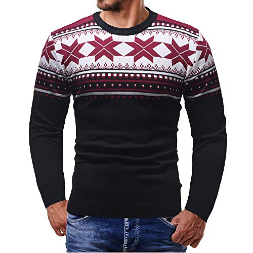 Sale!! Man T Shirt 3D Christmas Print Pullover,Men Autumn Winter O Neck Long Sleeve Tee Top (X-Large...
