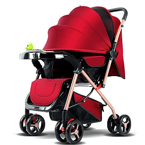 Cochecito de Bebé Plegable Para Cochecito con Música / Placa de Cena Vista Alta Carritos con Capazo Anti-shock Baby Sistema de Viaje 0-3 Carritos y sillas de paseo con Rueda Grande (Color:rojo)