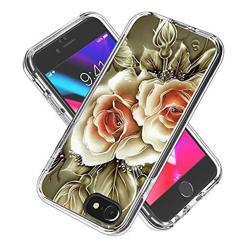 Coque iPhone 6s / 6 / iPhone 7/8, Silicone Bumper, Transparent PC + TPU Hybride Boîtier de Protection avec Carte de Mode (Rose)