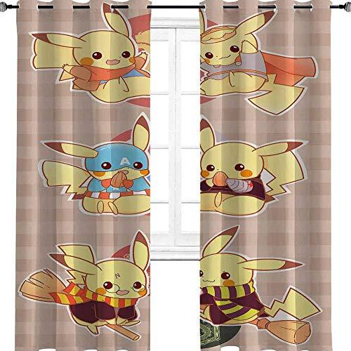 """Pokémon Manga Anime TV Film Cartoon Personnage Mignon Série BD Élégant Maison Multicolore Garçon Fenêtre Chambre d'enfant, Polyester, multicolore, 2 panel(32""""W x 72""""L W80cmxL183cm)"""