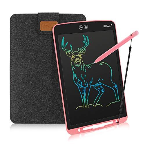 ELZO LCD Schreibtafel 12 Zoll, Schreibtafel Buntes Display Kinder Laptop für Notieren/Zeichnen, Optimaler Papierersatz, Kinderspielzeug ab 3 Jahre (12 Zoll, Pink & Schwarz)