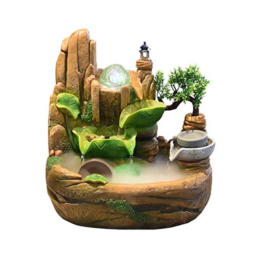 JLWM Indoor Fountain, Water Feature Cascade Cascading Waterfall Rockery with Ball Sphere Algae Treatments Fogger Humidifier Zen Meditation for Stress Relief-27x20x30cm (10.6x7.8x11.8)