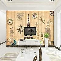 QQYYYT ウォールアートポスター-3Dレトロウッドライン3Dベッドルームウォールフォトペーパー壁画ポスターウォールデコレーションペインティング