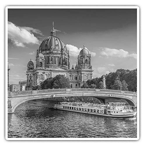 Impresionantes pegatinas cuadradas (juego de 2) 10 cm BW – Catedral de Berlín Alemania Divertidas calcomanías para portátiles, tabletas, equipaje, reserva de chatarras, frigoríficos, regalo fresco #42558
