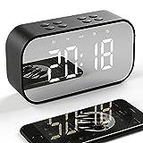 Tanouve Despertador con Altavoz Bluetooth Inalámbrico, 2000mAh Recargable Digital Reloj Despertador Espejo con Tiempo/Alarmas Dobles/Micrófono/Brillo Ajustable en Hogar