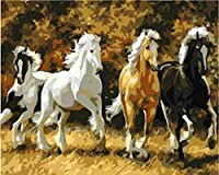 DIY 数字 油絵 塗り絵 キット ギャロップ 大人 子ども 塗り絵 デジタル油絵 手塗り 数字キットによる絵画 絵かき インテリア 壁飾り ホームデコレーション 40x50 cm(フレーム付き)